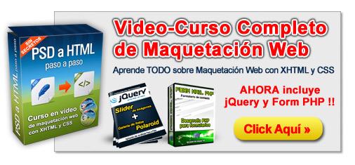 Video Curso Maquetación Web y Conversión PSD a HTML
